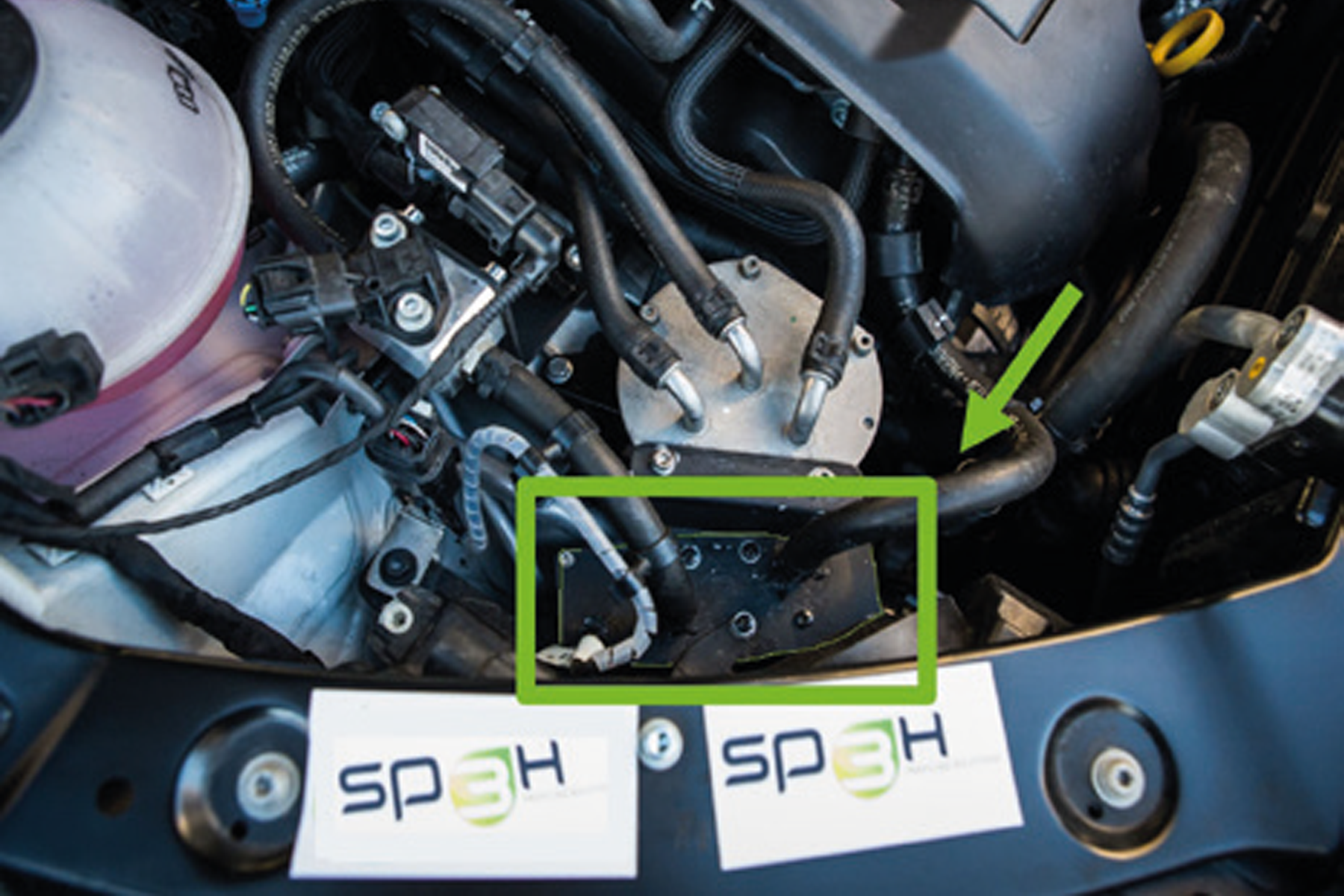 The picture shows the SP3H sensor implementation in the engine compartment.